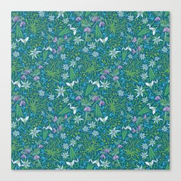 Edelweiss flowers with hellebore and snowdrops on blue background Canvas Print