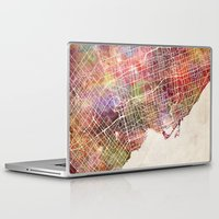 toronto Laptop & iPad Skins featuring Toronto by MapMapMaps.Watercolors