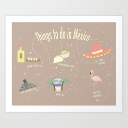 Things to do in Mexico Art Print