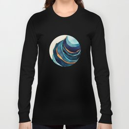 Abstract Blue with Gold Long Sleeve T-shirt