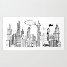 Gotham City Skyline Art Print