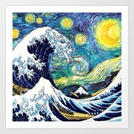 Starry Wave Night Art Print