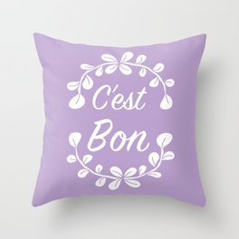 Inspirational French Quote with Leaves in Pastel Purple Throw Pillow