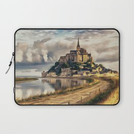 Mont Saint Michel castle painting, French island scenery, Normandy France nature, travel art poster Laptop Sleeve