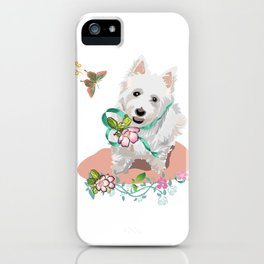 Lovely Western Highland Terrier with Flowers Butterflies iPhone Case