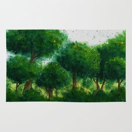 watercolor forest Rug