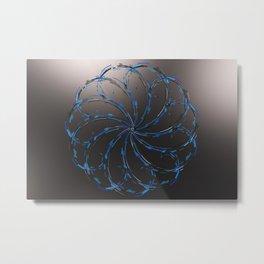 Glowing blue flower on black Metal Print