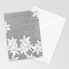 line art flowers on stripes Stationery Cards