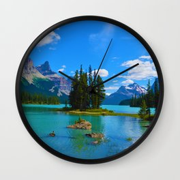 Spirit Island on Maligne Lake in Jasper National Park, Canada Wall Clock