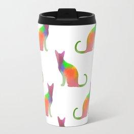 Watercolor Cat Silhouette Pattern Travel Mug