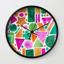 Patterned colorful blocks Wall Clock