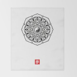 Taoist Lotus Mandala Throw Blanket