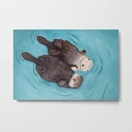 Otterly Romantic - Otters Holding Hands Metal Print