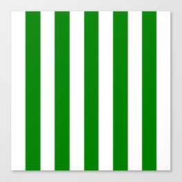 Green (HTML/CSS color) - solid color - white vertical lines pattern Canvas Print
