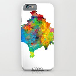 Kosovo Watercolor Map iPhone Case