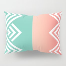 Aqua and Coral Chevron Pillow Sham