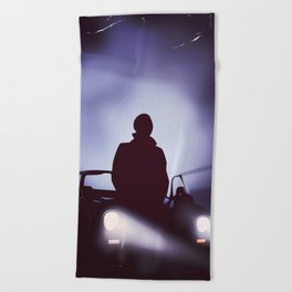 Vintage 80s car poster - the equalizer. Beach Towel