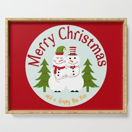 Merry Christmas and a Happy New Year Snowman Couple Serving Tray