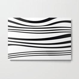 stripes wave Graphic white Metal Print