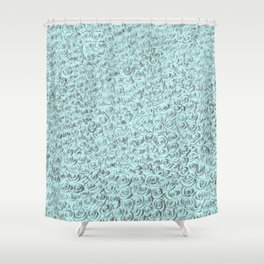 Aqua and Gray Rose Flurry Shower Curtain