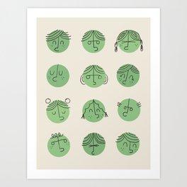 green faces Art Print