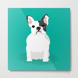French Bulldog sitting cute pet portrait custom animal gifts for dog person frenchie black and white Metal Print