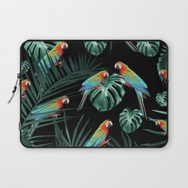 Parrots in the Tropical Jungle Night #2 #tropical #decor #art #society6 Laptop Sleeve