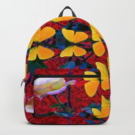 RED-WHITE ROSES & YELLOW BUTTERFLIES GARDEN Backpack