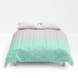 Moroccan pattern with mint, pink and gold Comforters
