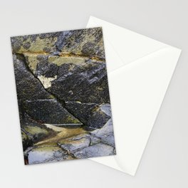Reflective Rock Surface with Lichen Texture Stationery Cards