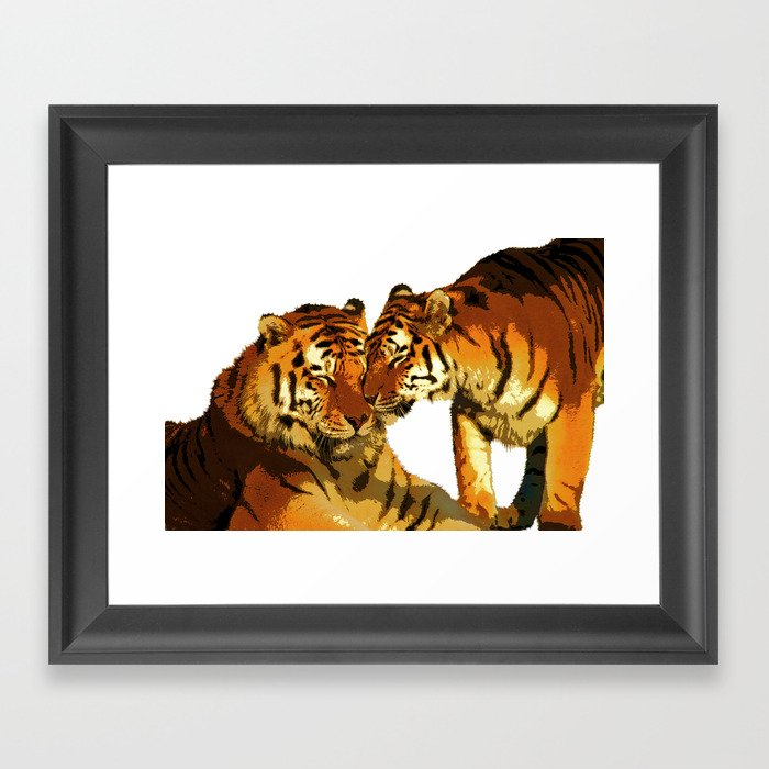 Tigers Love Big Cats Affectionate Bengal Tigers Framed Art Print