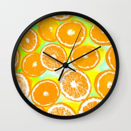 juicy orange pattern abstract with yellow and green background Wall Clock