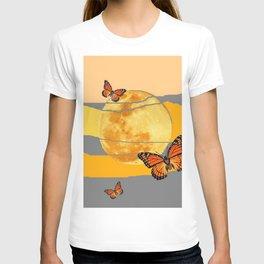 MOON & MONARCH BUTTERFLIES DESERT SKY ABSTRACT ART T-shirt