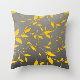 FLOWERY VINES | grey yellow Throw Pillow