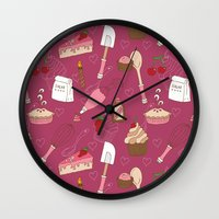 baking Wall Clocks featuring Shaking n' Baking by Valentina Cariel