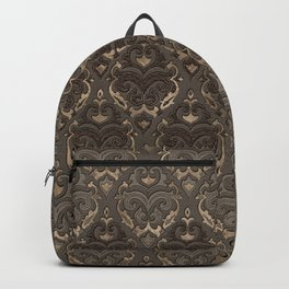 Oriental Pattern -Pastels and Brown Leather texture Backpack