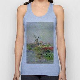 "Claude Monet ""Tulip field in Holland (Champ de tulipes en Hollande)"" Unisex Tank Top"