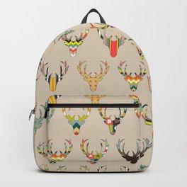 retro deer head on linen Backpack