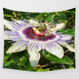 Passiflora Close Up With Garden Background  Wall Tapestry