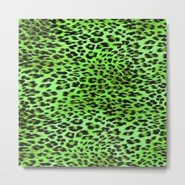 Green Tones Leopard Skin Camouflage Pattern Metal Print