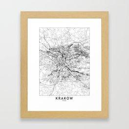 Krakow White Map Framed Art Print