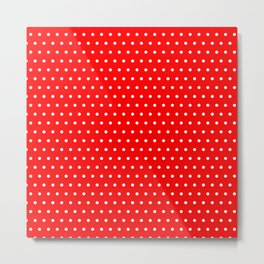 Polka / Dots - Red / White - Small Metal Print