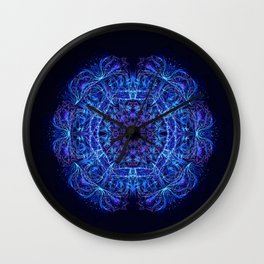 Blue Crystal Mandala Wall Clock