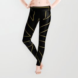 Angled 2 Black & Gold Leggings