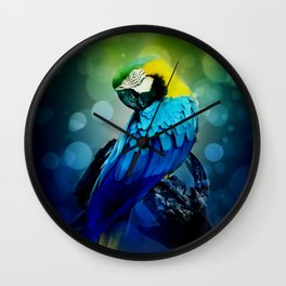 Macaw on branch Wall Clock