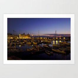 Pozzuoli Harbor By Night Art Print