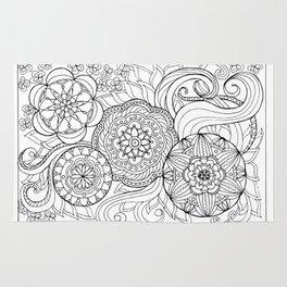 outline zen floral pattern 2 Rug