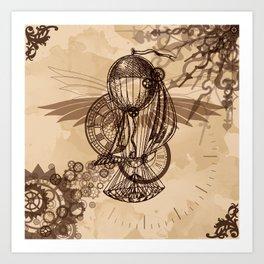 Steampunk - Clock and Gears Ballon Art Print