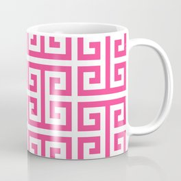 Large Pink and White Greek Key Pattern Coffee Mug