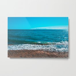 Blue sea at Greece with stony beach Metal Print
